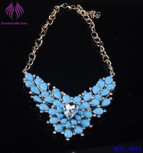Quality Women Crystal Rhinestone Flower stone Choker Statement Shining glass bead Necklace Pendant for sale