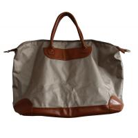 Quality Ivory Canvas waterproof shopper bag with leather pad and handle , zipper and fasten button for sale