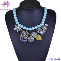 Quality Fashion Bead chain Crystal Flower Bib  Statement Chunky Necklace Collar for sale