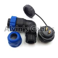 Buy cheap SD20TA-ZM IP67 2pin elbow 90 degrees Waterproof connector industrial power cable from wholesalers