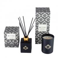 Quality Black Gold Candle And Diffuser Gift Set / Luxury Aromatherapy Reed Diffuser Set for sale