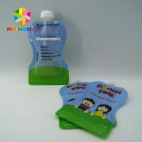 China BPA Free reusable squeezed baby food pouches with nozzle , double zipper on sale