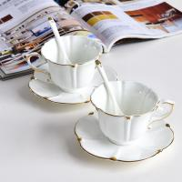 Buy antique arabic white bar tea cups and saucers set coffee ceramic espresso vintage custom eco hotel restaurant logo at wholesale prices