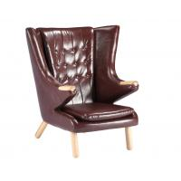 Living Room Leather Lounge Chair / Papa Bear Chair Soft Feeling With Ottoman