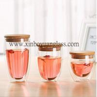Quality Double wall glass cup / coffee cup /glass cup with bamboo lid for sale