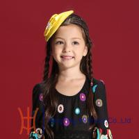 China Yellow Kids Fascinators for Party , Wool Felt Beret With Cute Trimmings on sale
