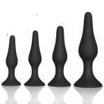 Quality Couple pleasure body safe Anal Sex Toys 4 Piece purple black Silicone Anal Plug butt plug Set for sale