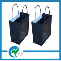 Quality Printed logo custom paper bags printing with twisted black matt paper and PET window for sale