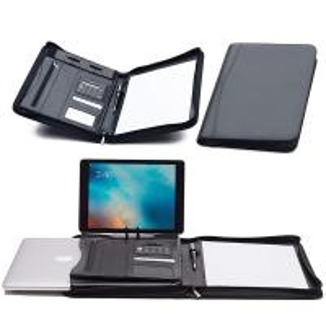China Faux Leather Business Portfolio Folder Classic Black With Solar Calculator on sale