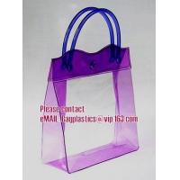 Quality clear pvc packaging bag with handle for wine, vinyl pvc zipper gift tote bags with handles, gift bag with plastic snap for sale