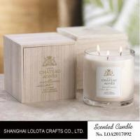 China Luxury Three Wick Scented Candles , Multi Colored Soy Wax Candle With Wooden Box on sale