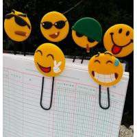 Funny Emoji Rubber PVC Bookmarks / 3d PVC Book Clips For Scenic Spot Promotional Gift