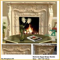 Hand Carved Yellow Marble Fireplace Shelf