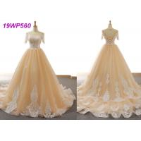 Quality Nude Tulle Multi Colored Wedding Gowns With 3/4 Sleeve Sexy Vintage Appliques for sale