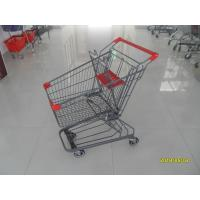 Quality Grey Powder Coating 80L Supermarket Shopping Carts With 4 Inch PU Casters for sale
