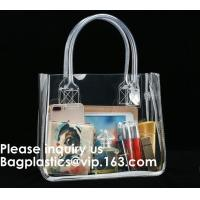 China Thick Clear PVC Handbag With Tube Handles,Cosmetic/ Makeup/ Toiletry Clear PVC Travel Wash Bag with handle, Bagease on sale
