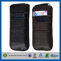 China PU Leather Sleeve Pouch Apple Cell Phone Cases Wallet Card Slot With Pull Tab on sale
