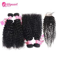 Quality Brazilian Remy Hair 4 Bundles Kinky Curly Hair With Lace Frontal Closure for sale