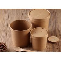 Quality Disposable Kraft Paper Soup Cups Containers With Cover And Spoon 16oz 20oz Size for sale
