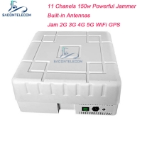 Buy cheap GPS WiFi Signal Jammer 150w High Power 11 Channels 2G 3G 4G 5G 5.8G Signal from wholesalers
