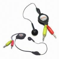 Quality Auto Retractable Mini Earphones with Microphone for CD, DVD, MP3 Players, AM/FM Radios and Computers for sale