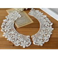 Embroidered Water Soluble Floral Lace Collar Applique For Lady Garment 100% Cotton