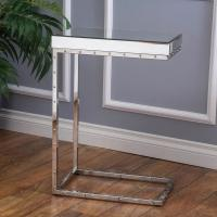 China Modern mirrored side table stanieless steel computer mobile desk glass top corner table on sale