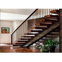 Quality Modern Indoor Straight Staircase Solid Wood Steps Stairs With Glass Railing for sale
