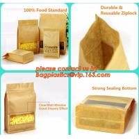 Quality stand up pouch biodegradable zipper bag kraft paper bag, Resealable Snack Stand up Zipper kraft paper Pouch Aluminum for sale