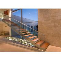 Quality Prefabricated Steel Tempered Glass Treads Stairs Straight Staircase Design for sale