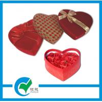 Quality Red Heart Shape Art Paper Wrapped Jewellery Boxes with Silk - Screen Imprint for sale