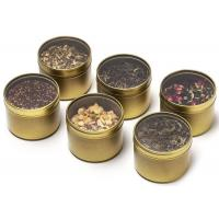 Quality Golden Color Small Metal Tins With Lids And PVC Clear Window , Fashion Design for sale