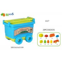 China 17   Building Blocks Toys For Toddlers Movable Wagon 32 Pcs Blue Pink Big Wheel on sale