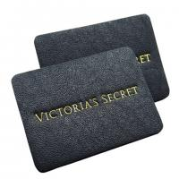 Quality apparel genuine leather label stamped tags black leather patch logo factory for sale