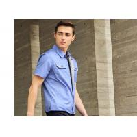 Quality Polyester Cotton Short Sleeves Industrial Work Uniforms Twill Engineer Sky Blue for sale