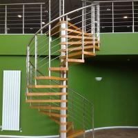 Quality Internal Spiral Staircase Design For Timber Stair Steps Stainless Steel Railings / Steel Wood Spiral Stair for sale