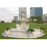 Quality white marble outdoor stone fountains with horse statue for sale