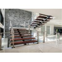 Quality Low cost straight staircase solid wood steps stairs with glass railing for sale