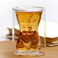 China Handmade Mouth Blown Muscle Man Body Shape Double Wall Glass Beer Mug Whisky Cup For Party & Birthday Gift on sale