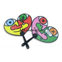 Quality 0.6mm new pp both printing Heart-shaped cartoon black plastic handle fan for sale