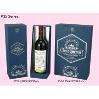 Quality Blue Paper Wine Box, Recyclable Single / Double Wine Packaging Boxes for sale