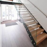 Quality Customized Straight Open Riser Double Stringers l Shape Wood Tread Straight Staircase for sale