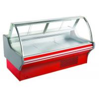 China Curved Glass Deli Display Counter Refrigerator For Supermarket With Optional Rear on sale