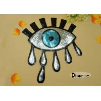 China Bling Big Eye Silver Sequins Beaded Sequined Appliques For Dresses on sale