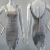 Quality Graceful vintage grey sexy spaghetti strap backless short bodycon bandage dress for sale