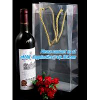 Quality Handle Wine Bottle Paper Bags With Two Side Logo,transparent wine gift pp bag, plastic bag with handles bagplastics pac for sale