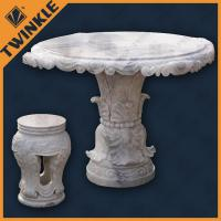 Quality Garden Natural White Marble Outdoor Furniture Include Table And Bench for sale