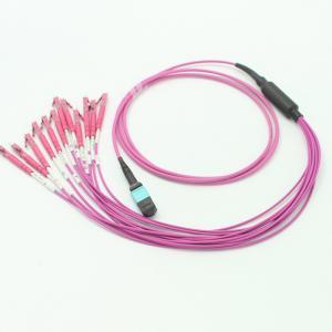 Quality OM4 MPO LC Optical Fiber Cable 12 Core  2m Mpo Multimode Fiber for sale