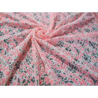 Colored Allover Cotton Polyester Lace Fabric with Burnout Flower Lace