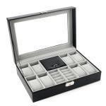 Black Leather Jewelry Box Watch Organizer